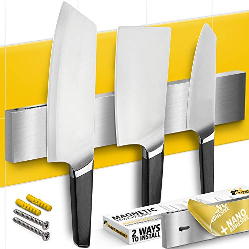Knife Magnetic Strip 10 inch with Adhesive – Magnetic Knife Holder for Wall no Screws – Magnetic Knife Block with Multi Use as Kitchen Utensil Holder, Knife Rack, Tool Holder and Kitchen Organizer