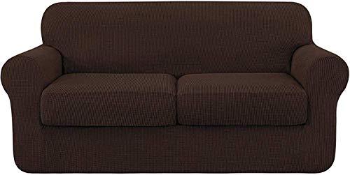 WLVG Funda universal para sofá con 2 fundas de cojín separadas, de poliéster, elástica, de elastano, protector de muebles antideslizante (chocolate, 2 plazas, 145 – 178 cm)