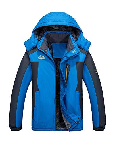Shownicer Herren Warme Winterjacke Parka Skijacke Fleece Gefüttert Outdoorjacke Wasserdicht Softshelljacke Wintermantel Übergangsjacke mit Abnehmbarer Kapuze Blau XS