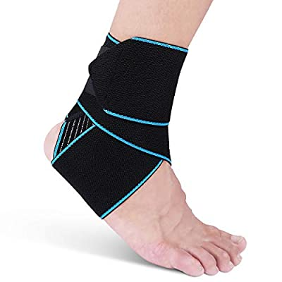 AVIDDA Ankle Brace for Men Women - Adjustable Compression Ankle Support Wrap Strap for Sports Protect, Plantar Fasciitis, Achilles tendonitis, Ligament Damage, Injury Recovery, One Size for All Blue