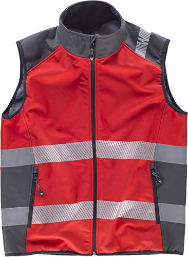 WorkTeam Chaleco Softshell de Trabajo Alta Visibilidad, Cintas Reflectantes Discontinuas, Cortavientos, Impermeable e Interior de Alta Capacidad Térmica. Unisex Rojo+Gris Oscuro XL