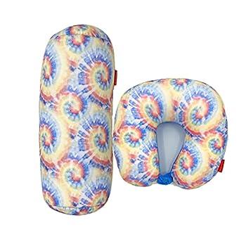 Bookishbunny 2pcs Micro Bead Set U Shaped Neck Travel Pillow 12  x 12  x 4  and Roll Back Pillow Cushion 13  x 7  Various Designs  Tie Dye