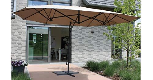 Consul Garden Doppel Ampelschirm XXL braun 430 x 250cm Sonnenschirm Marktschirm Gartenschirm Terrassenschirm