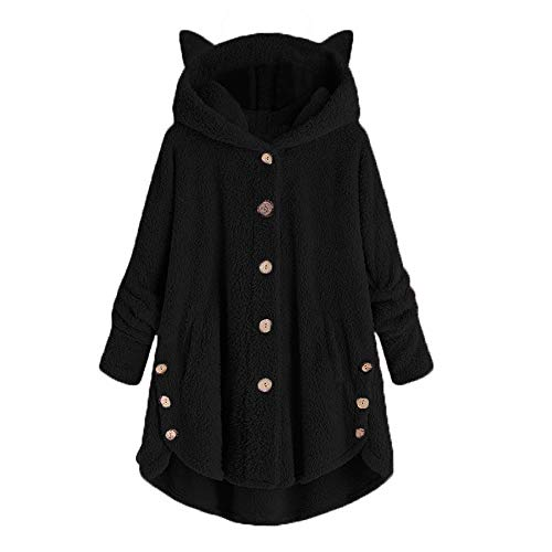 Xinantime Womens Overcoat Button Solid Coat Tops Hooded Pullover Loose Sweater Casual Blouse Plus Size Black