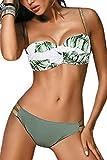 JFAN Traje de Baño de Mujer Cinturón Dorado Acolchado Bra Tops de Bikini Conjunto de Bikini de Color Liso Push Up Swimwear Dos Piezas Trajes de Baño Divididos(Verde Hojas,L)