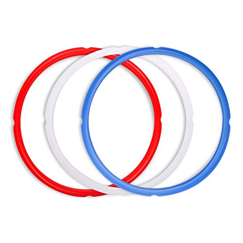 Silicone Sealing Rings Replacement for Instant Pot Accessories, Fits 5 or 6 Quart Models, Red, Blue and Common Transparent White, 3 Pack BPA-Free Food-Grade Silicone Gaskets by Poweka