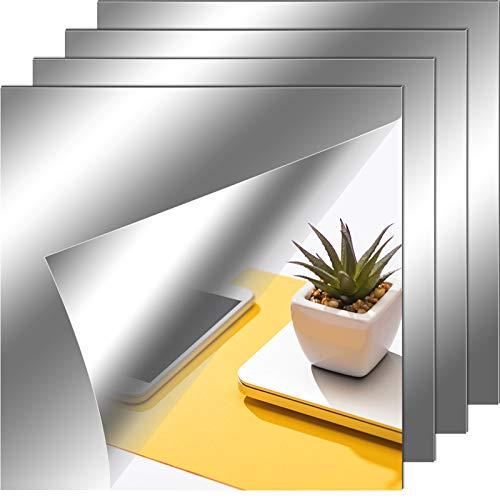 Hojas de Espejo Flexibles Azulejos de Espejo sin Vidrio Autoadhesivos Pegatinas de Espejo para Decoración de Pared de Hogar (4, 12 x 12 Pulgadas)
