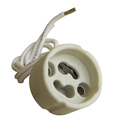 Tibelec 854210 fitting voor halogeen- / LED-lampen GU10 / GZ10, wit, keramiek/siliconen