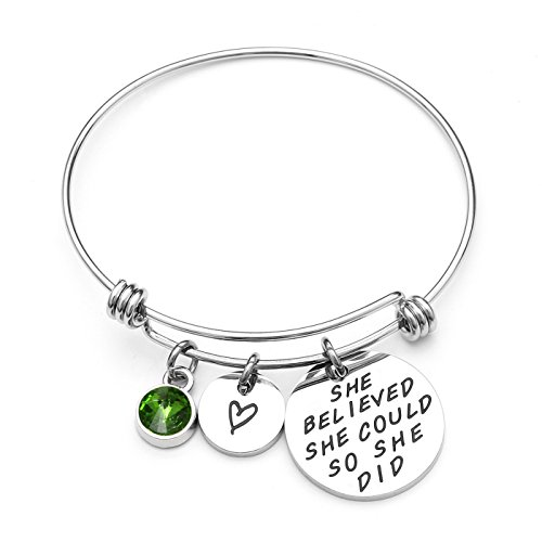 AISHOW She Believed She Could So She Did Inspirational Birthstone Charm Expandable Stainless Steel Bangle Bracelet - Birthday Gifts for Women Girls (08-August Peridot)