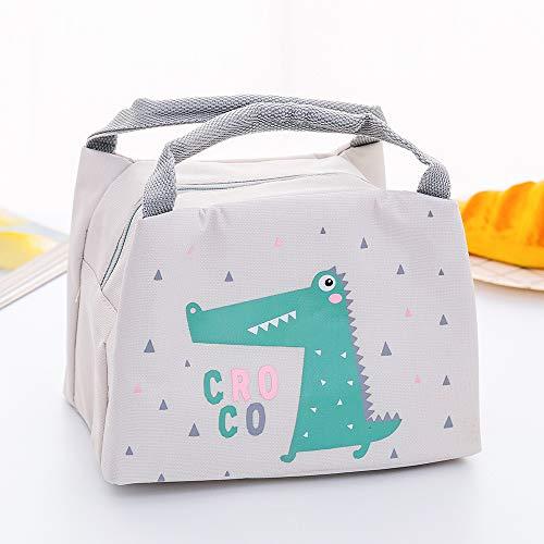 Bolsa Térmica Porta Comida para niños y niñas Colegio Bolso de mano Impermeable Saco de Fiambreras Bolsa Calor Frío (Cocodrilo)