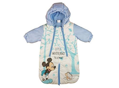 Disney Mickey Mouse Baby Fuß-Sack Kinderwagen-Sack Winter-Overall Wind- Schneeoverall Schnee-Anzug Anorak Auto-KOMPATIBEL Jungen Größe 68/74(blau/Weiß)