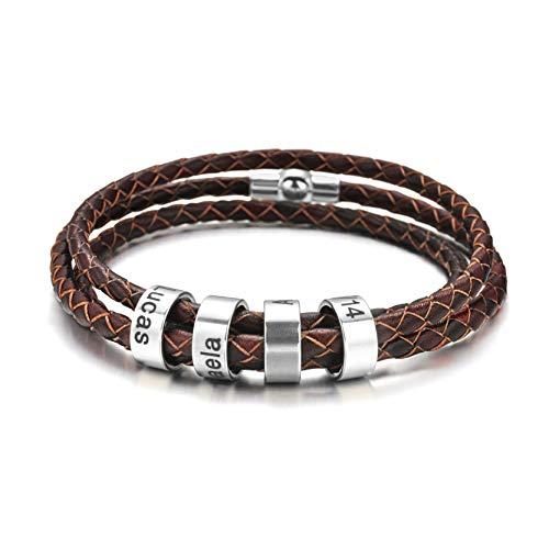 Bracelet personnalisé pour homme avec perles de nom en argent tresse noir nom breloque bracelet d'identification personnalisé pour hommes avec noms de famille cadeau de fête des pères