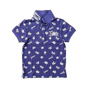 [ガッチャ ゴルフ] GOTCHA GOLF キッズ ポロシャツ DRY 接触冷感 総柄 アイコン シャツ 202GG3212 ネイビー 150cm