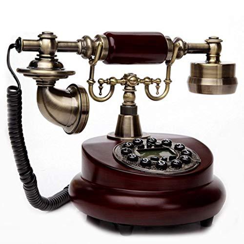 TRTT Teléfono Fijo clásico Europeo Retro Resina Madera Estilo Retro Teléfono residencial con Cable Vintage, Teléfono clásico con Cable clásico Decoración Fija para el hogar y la Oficina, una vari