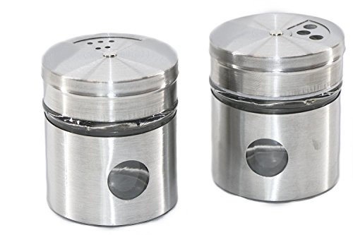 RMB® 2er Set Gewürz-Streuer Salz- und Pfeffer-Streuer Paprika Chili usw. aus Edelstahl und Glas