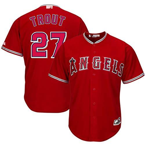 Camisetas de béisbol Personalizadas Personalizadas, Angels No. 27 Mike Trou, Camisa de Jersey MVP del jardinero-red-2XL