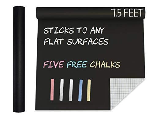 Extra Large Blackboard Chalkboard Contact Paper Vinyl Wall Decal Poster (7.5 FEET) Black Roll Adhesive Chalk Board Paint Alternative w/Bonus Chalks - Peel and Stick DIY Wallpaper Sizes 17.8' X 90.5'