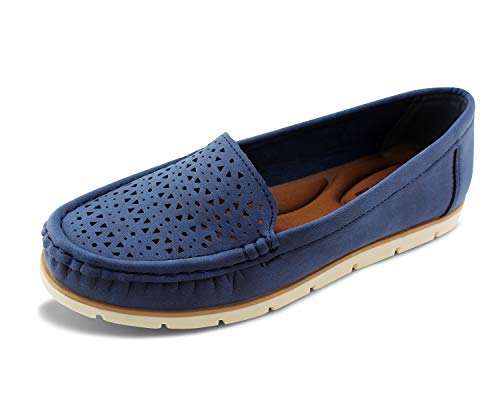 JABASIC Womens Penny Loafers Breathable Slip on Flat Shoes Moccasins (10,Navy)