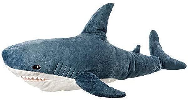 AFYBL 39 英寸鲨鱼巨人毛绒动物玩具野生动物柔软聚酯纤维织物美丽鲨鱼标记手工制作儿童可抱枕假装玩旅行午睡时间