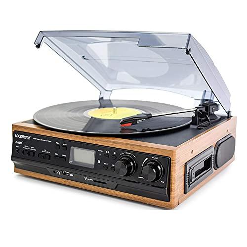 KOSHSH Tocadiscos Reproductor Discos Vinilo Altavoces estéreo Integrados Soporte USB/Tarjeta SD Casete Radio FM Gramófono doméstico multifunción
