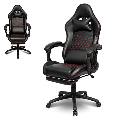 I Choice Gaming Chair Ergonomic Office High Back Racing Gaming Chair PC Chair with Massage Lumbar Support Racing Style PU Leather E-Sports Gamer Chairs with Retractable Footrest (Black&Red)