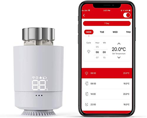 Heizkörperthermostat, Meterk intelligente Sprachheizungsregelung Thermostat, LED Anzeige, Einstellbereich von 5 ℃ ~ 30 ℃, Dreheinstellknopf, SASWELL SEA802DF