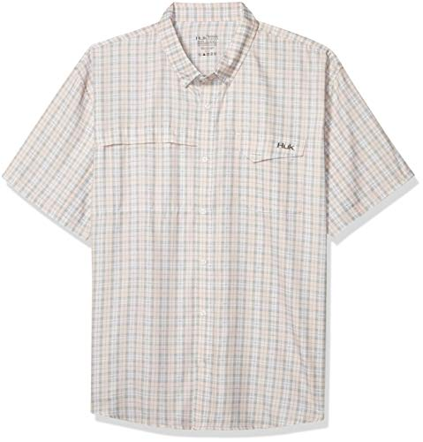 Huk Men's Tide Point Woven Fish Plaid Short Sleeve Shirt | Button Down Performance Shirt with UPF 30+ Sun Protection , Seashell Pink, 2X-Large