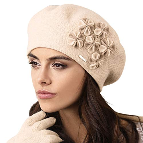 Kamea Gorycja Dame Baskenmütze Kopfbedeckung Eleganz, Beige,Uni