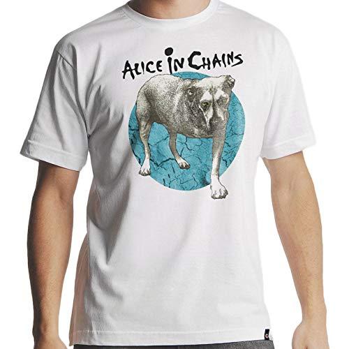 Camiseta Alice in Chains the Dog Masculina Branca Tamanho:G;Cor:Branco