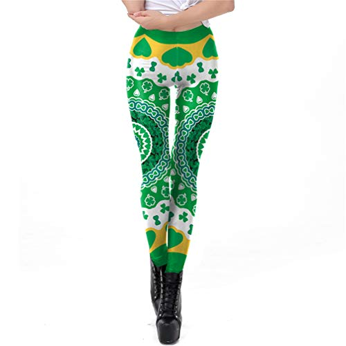 Q.TTRD St. Patrick's Day Fitness Stretch Leggins Damen Push Up Pants Sporting L