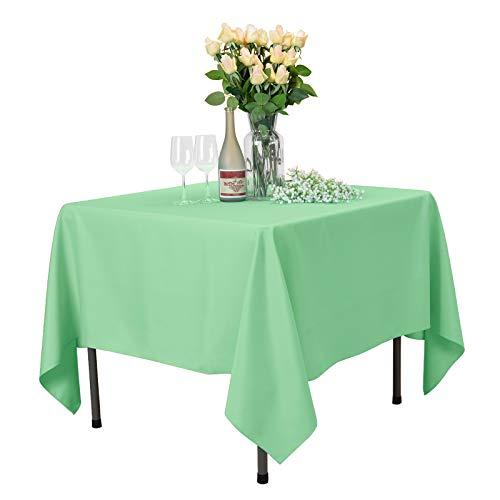 Veeyoo - Tovaglia quadrata, 100% poliestere, per tavolo da interno ed esterno, tinta unita, per feste di nozze, ristorante, caffetteria, 178 x 178 cm, colore: Verde menta