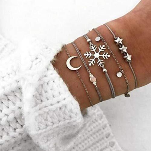 Handcess Conjunto de pulseras bohemias con diseño de flamenco, de plata, con diseño de estrellas, luna, cadena de mano, trenzada, accesorios para mujeres y niñas (5 unidades)
