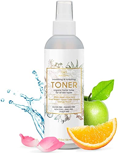 Natural & Organic Face Toner Spray - Extra Nourishing & Hydrating Natural Facial Mist with Witch Hazel, Apple Cider Vinegar, Rose Water for Dry, Oily, Acne Prone Skin Balance pH 8oz Era-Organics