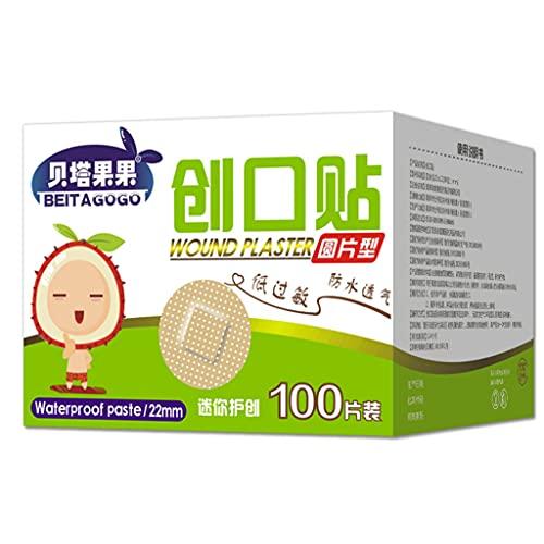 BLEUNUIT Mini tirita Redonda, 100 Piezas/Caja, 22 mm, Ultrafino, para niños, Primeros Auxilios, Vendaje de Emergencia, Mini Adhesivo Redondo, Yeso para heridas, Pegatinas de hemostasia médica, A