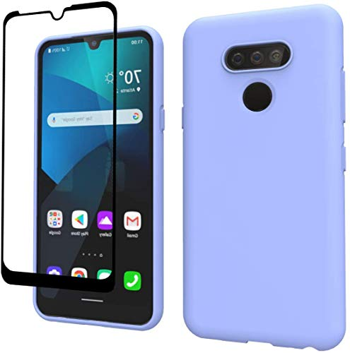 Weycolor LG K51 Case LG Q51 Case, with Tempered Glass Screen Protector [2 Pack], Liquid Silicone Slim Soft Fit Drop Protection Case for LG K51 / Q51 (Purple)
