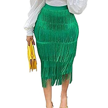 AOMEI Women s Spring Green High Waist Fringe Tiered Bodycon Pencil Midi Skirt L