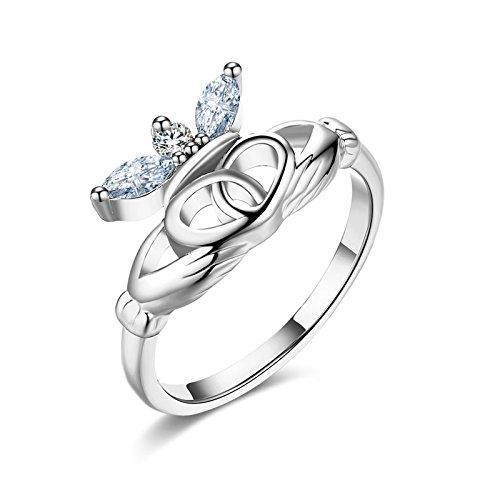 Gnzoe Schmuck Silber Claddagh Verlobungsringe Vertrauensring Damen Ringe Krone CZ Silber Gr.54 (17.2)