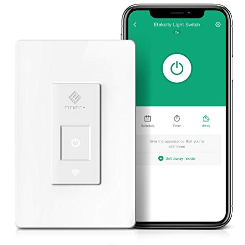 Smart Light Switch by Etekcity WiFi Remote Control Switch with Timer Works with Alexa Google Home and IFTTT Single Pole Neutral Wire Required No Hub Required Easy Installation ETL/FCC Listed