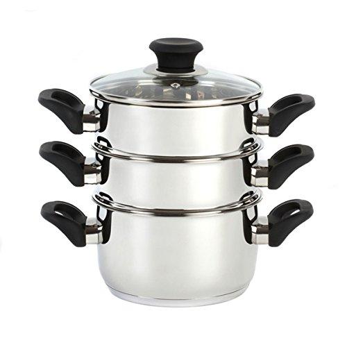 Russell Hobbs Heritage 18 cm 3 baldas de madera de acero inoxidable vaporera de acero inoxidable con mango negro