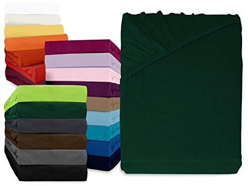 npluseins klassisches Jersey Spannbetttuch - erhältlich in 34 modernen Farben und 6 verschiedenen Größen - 100% Baumwolle, 90-100 x 200 cm, dunkelgrün