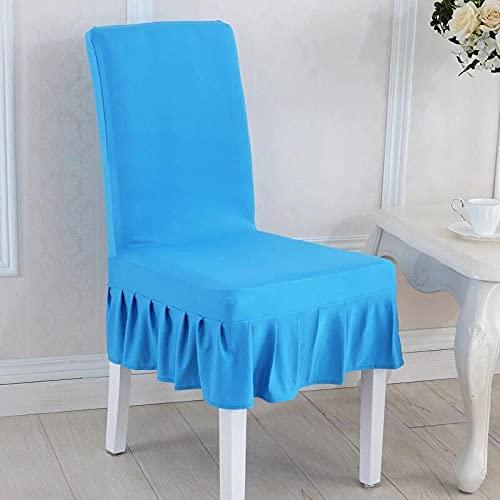 Universal stretch stolsskydd blå kjol avtagbart stolsskydd modernt skydd skydd säte stol matsal skydd för hotell bankett bröllop bukett 6/set