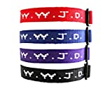Yleena 12 WWJD Bracelets - What Would Jesus Do Woven Wristbands Per Pack - Religious Christian WWJD Bracelet for fundraisers Red, Blue, Black and Purple Colors Perfect for Men Women Boys and Girls