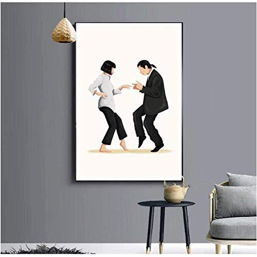 HHLSS Wandbilder 50x70cm ohne Rahmen Pulp Fiction Dance Poster Klassisches Filmplakat Abstrakt Minimalistische Wandkunst Malerei Wohnkultur