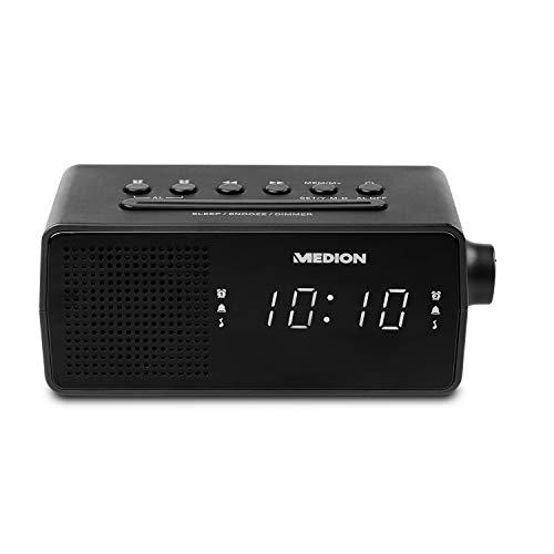 MEDION E66407 Uhrenradio (Radiowecker, PLL UKW Radio, Einschlafautomatik Sleep, Wecken durch Radio oder Alarm, Schlummertaste Snooze, 24 Stunden) schwarz