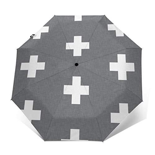 Swiss Cross Regenschirm, dreifach gefaltet, kompakt, schwarz, aus Gummi, Anti-UV, winddicht, automatisches Ein- und Ausschalten, Einhandbedienung