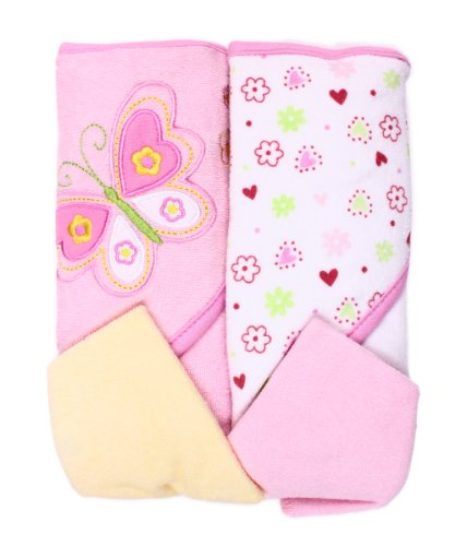 Spasilk Hooded Terry Bath Towel with Washcloths, Butterfly...