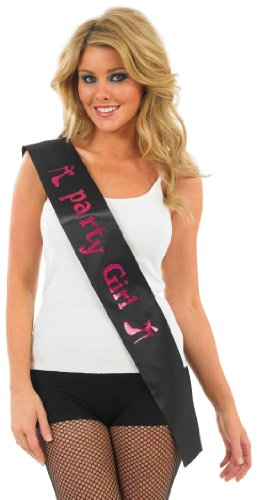 Party Girl Sash - Black With Pink