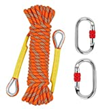 NTR Outdoor Climbing Rope 20M(64ft), 8MM Diameter Static Rock Climbing Rope with 2 Steel Hooks, Tree Climbing Rappelling Rope, Escape Rope Ice Climbing Equipment Fire Rescue Parachute Rope