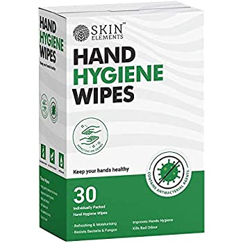 Skin Elements Hand Hygiene Wet Wipes with Aloe Vera- Germ Protection & Anti Bacterial - Avoid Contamination - (Pack of 30 Individually packed wipes for EXTRA safety)