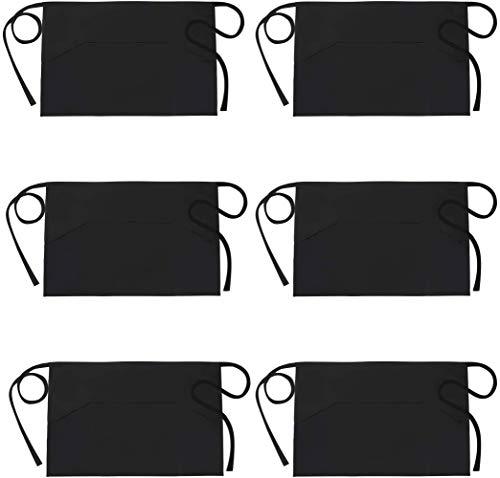 InnoGear Vorbinder Schürze Taillen Schürze mit 3 Taschen, Bistroschürze Kochschürze Backschürze für Bistro Restaurant, Schwarz 6 Stücke